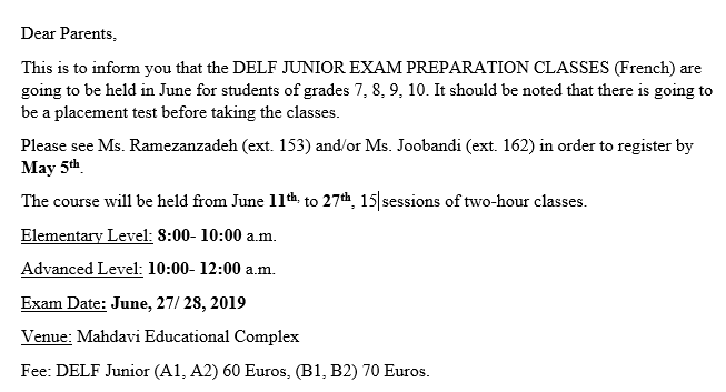 DELF Junior preparation classes