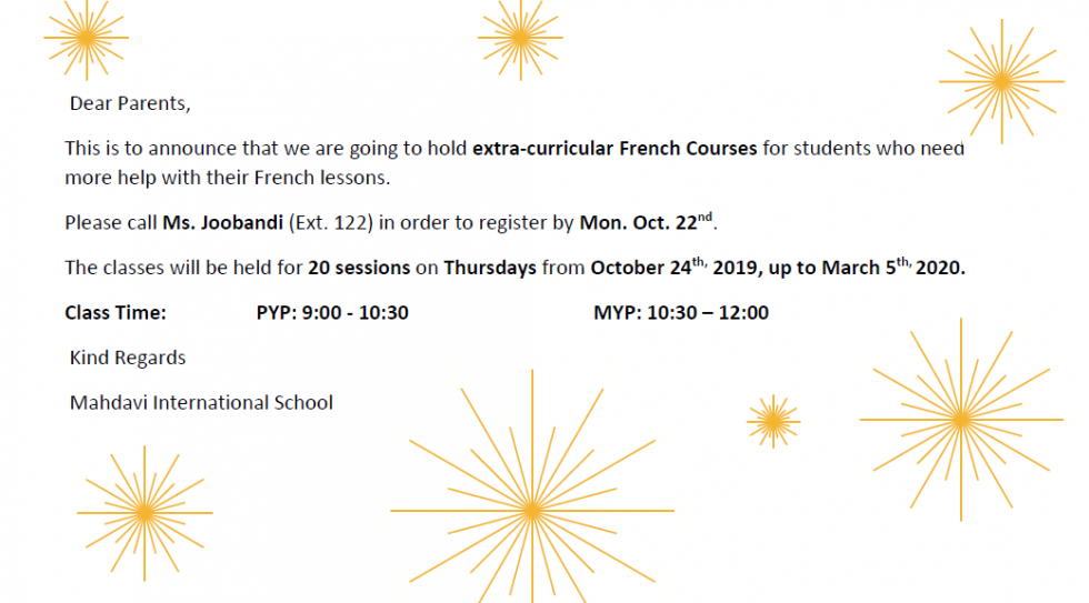 Extracurricular French Courses